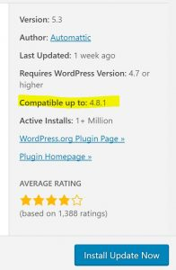 Wordpress Compatability Plugin Screengrab